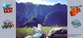 Foto contemplando Machu Pichu