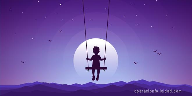 Persigue tus suenos Nino mirando la luna